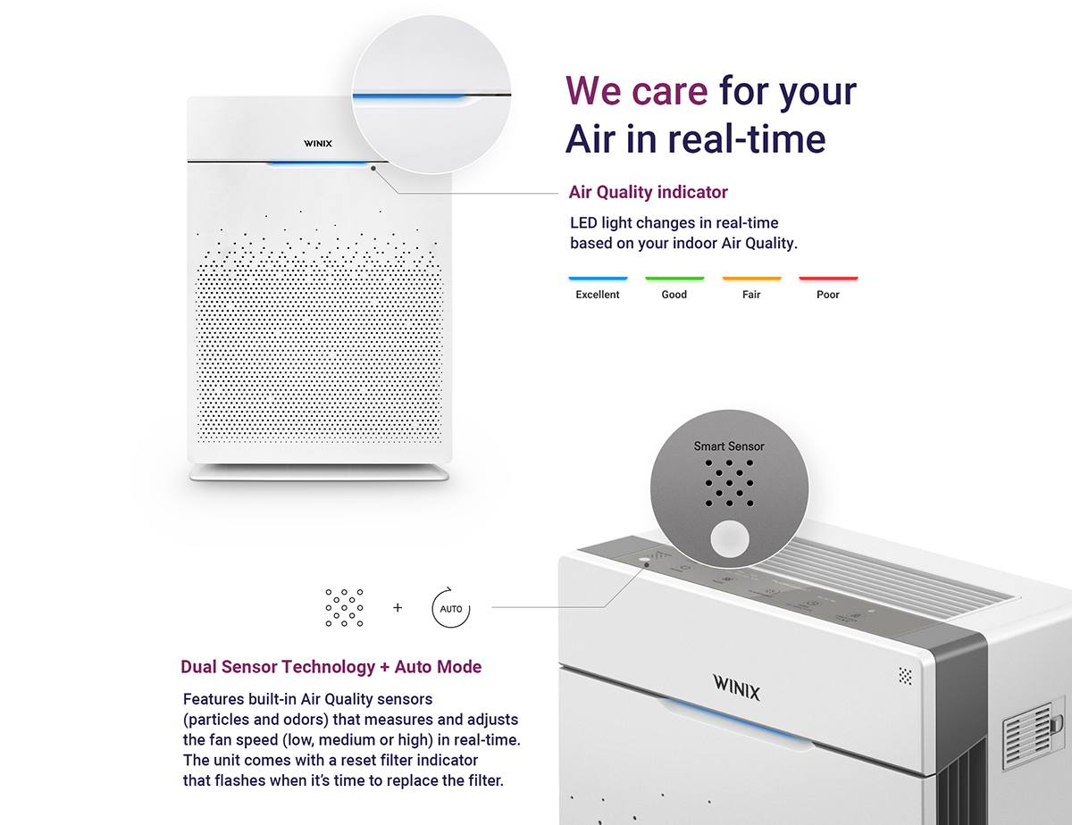 Air purifier with Dual Sensor and Auto Mode